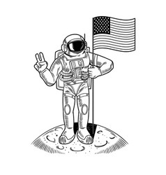 Spaceman on moon hold american flag vector