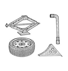 spare tire and tools sketch vector image