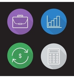 Stock exchange flat linear icons set vector