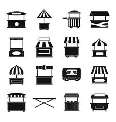 Street food truck icons set simple style vector