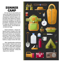 Summer camp poster with special equipment and vector