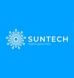 Sun tech logo simple elegant circle technology vector