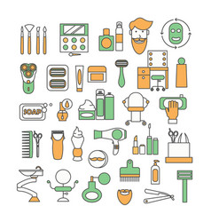 thin line art beauty saloon icon set vector image