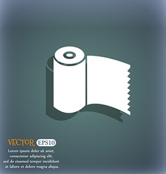 Toilet paper WC roll icon sign On the blue-green vector