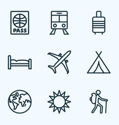 traveling icons line style set with airplane vector image