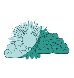 watercolor silhouette of cumulus clouds and sun on vector image