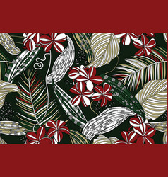Wild exotic flowers and tropical leaves vector