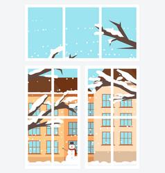 Window view from inside in winter season vector