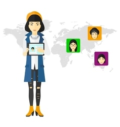 Woman holding tablet computer with social media vector