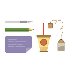 workplace with mobile devices and documents vector image