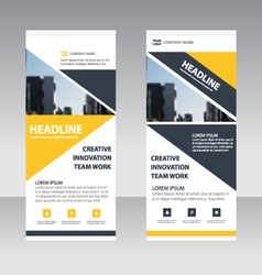 Yellow triangle Business Roll Up template banner vector
