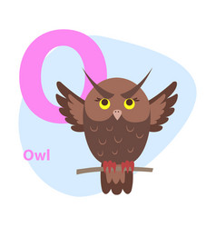 zoo abc letter with cute owl cartoon vector image
