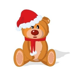 Bear toy in the New Year on a white background vector image