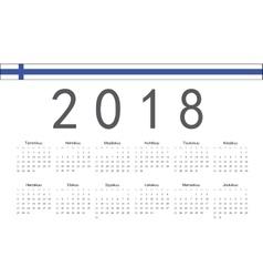 Finnish 2018 year calendar vector image vector image