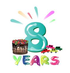 happy birthday eight 8 year fun design with vector image