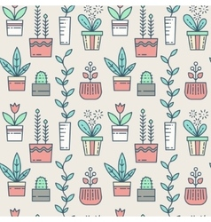 Line houseplants icons seamless pattern vector image vector image