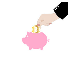 man putting coin into the piggy money vector image