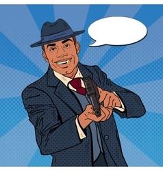 Pop Art Mafia Boss with Gun and Golden Tooth vector image