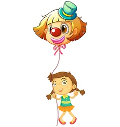 A young girl holding a clown balloon vector image