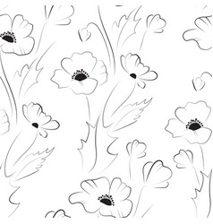 black poppy seamless pattern vector image vector image