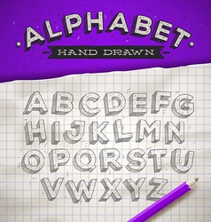 Hand drawn sketch font on a school notebook paper vector image vector image