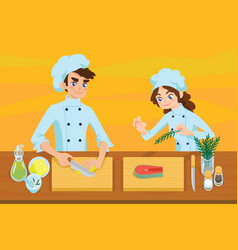 happy young cooks vector image vector image