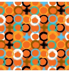 Pattern with painted circles and crosses vector image