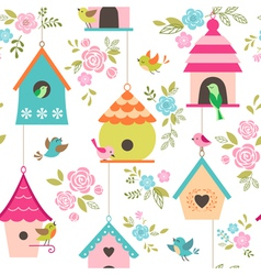 Bird houses pattern vector image vector image