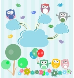 Birds and owls in spring forest set vector image