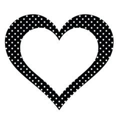 black polka dots heart vector image