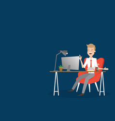 Business man working on computer at office desk vector