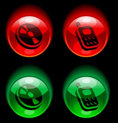 buttons with pictograms vector image vector image