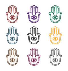 Hamsa icon in black style isolated on white vector