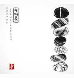 pebble zen stones balance traditional japanese vector image