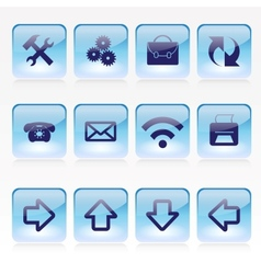 Set of Blue Pale Glass Square Buttons vector image vector image