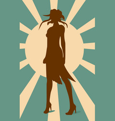 sexy woman silhouette in short dress vector image vector image