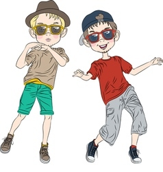 two hipster guys dancing vector image