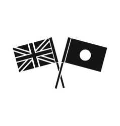 UK and Japan flags crossed icon simple style vector image vector image