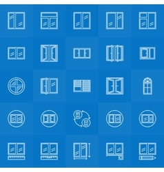 Window icons lineat collection vector image