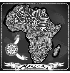 Africa map on vintage handwriting blackboard vector