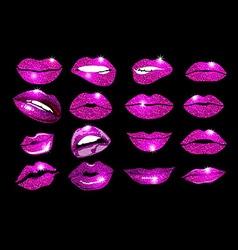 collage pink lips set Design glitter element vector image
