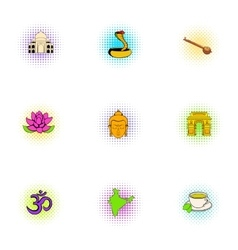 India icons set pop-art style vector image vector image