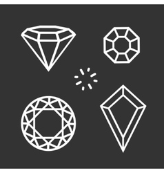 Set diamond symbol vector image vector image