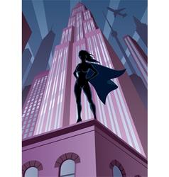 Super heroine in city vector