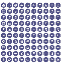 100 scenery icons hexagon purple vector