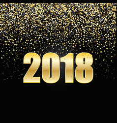 2018 new year black background with gold glitter vector image