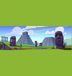 ancient moai statues and mayan pyramids vector image