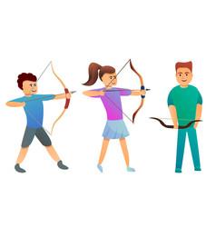 Archery icons set cartoon style vector