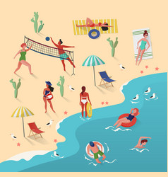 beach with people swimming and playing volleyball vector image