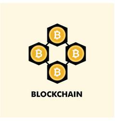 Blockchain logo template design vector